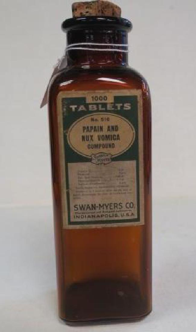 SWAN-MYERS CO Amber Pharmacy Bottle with Cork: