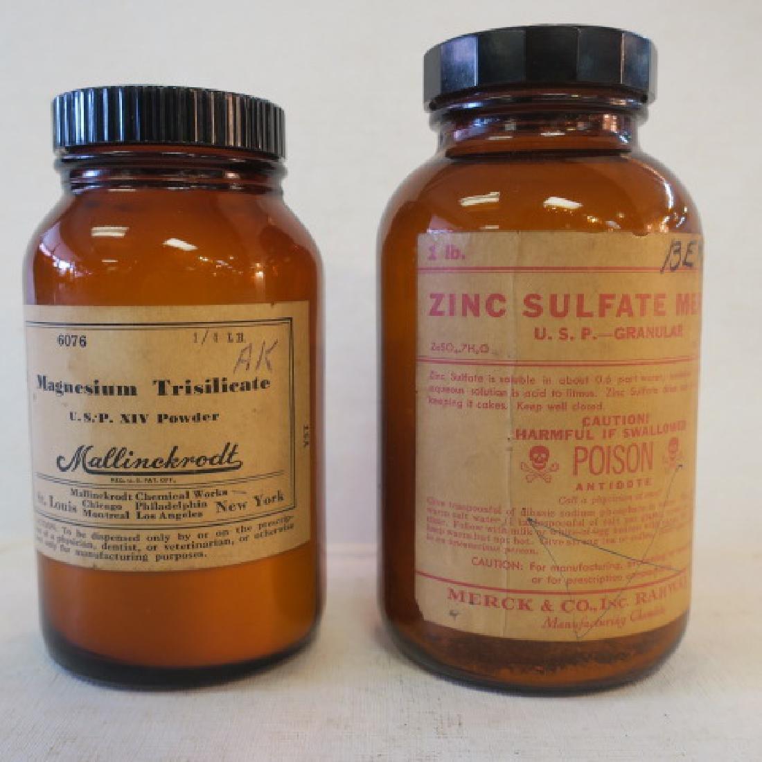 Two Vintage Amber Pharmacy Bottles CA 1950: