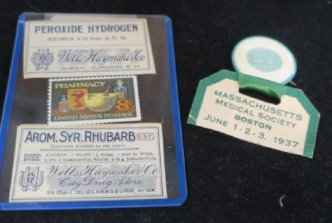 Pharmacy Pin, Labels, and Postage Stamp: