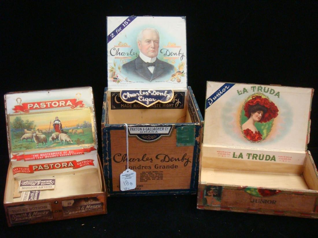 Three Antique Wooden & Metal Cigar Boxes,