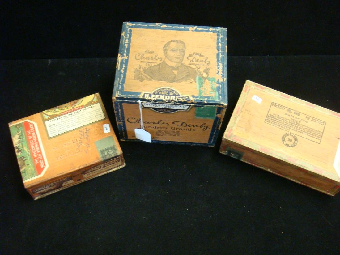 Three Antique Wooden & Metal Cigar Boxes, - 4