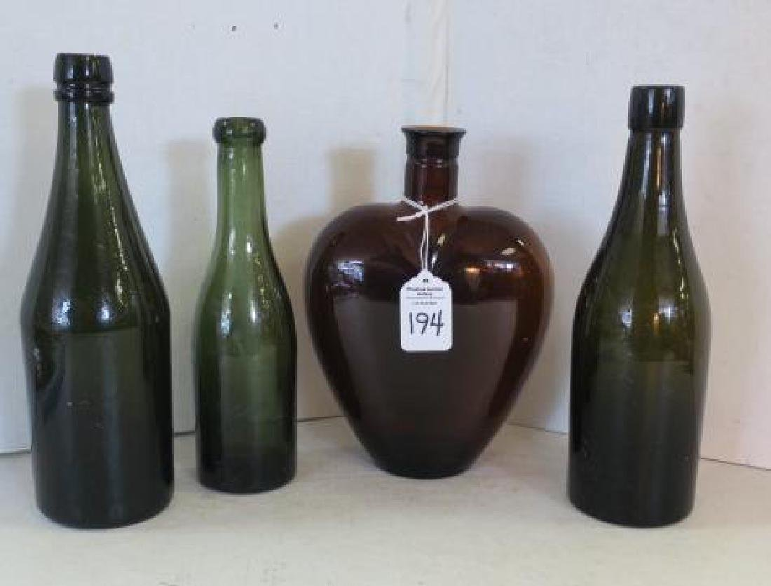 Four Colored Bottles, Cranberry Green and Amber: