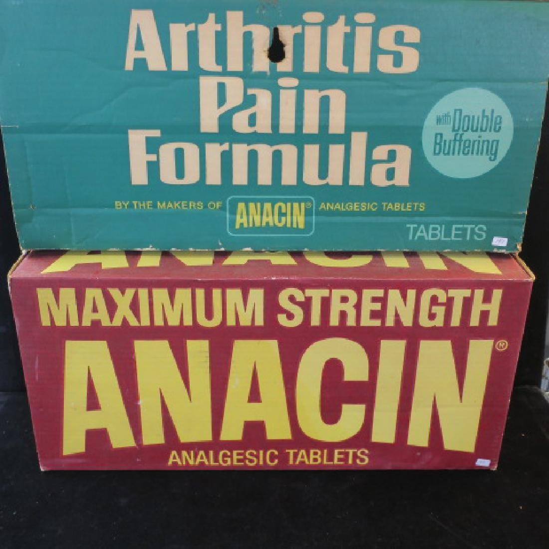ANACIN ANALGESIC TABLETS Shipping Boxes; Green & Red: