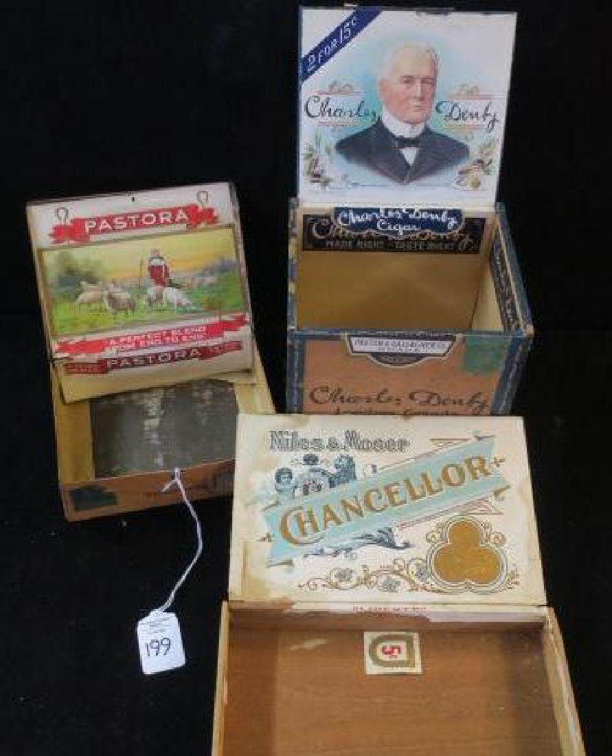 Three Antique Wooden & Metal Cigar Boxes,