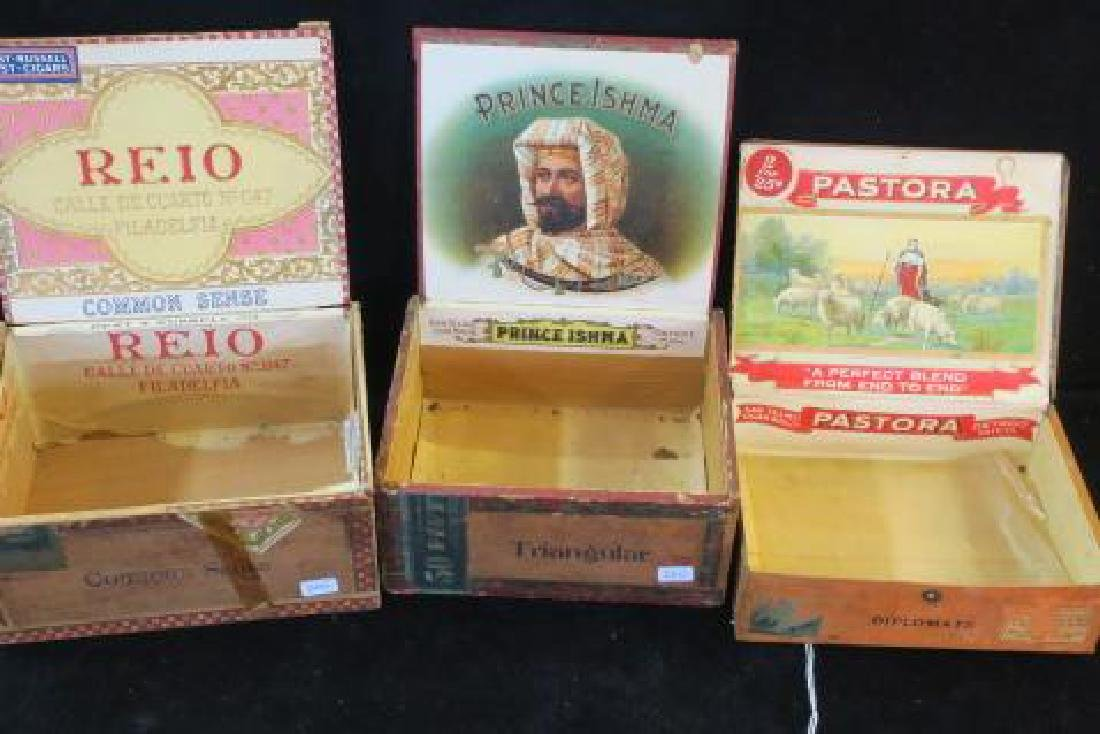Three Antique Wooden Cigar Boxes: