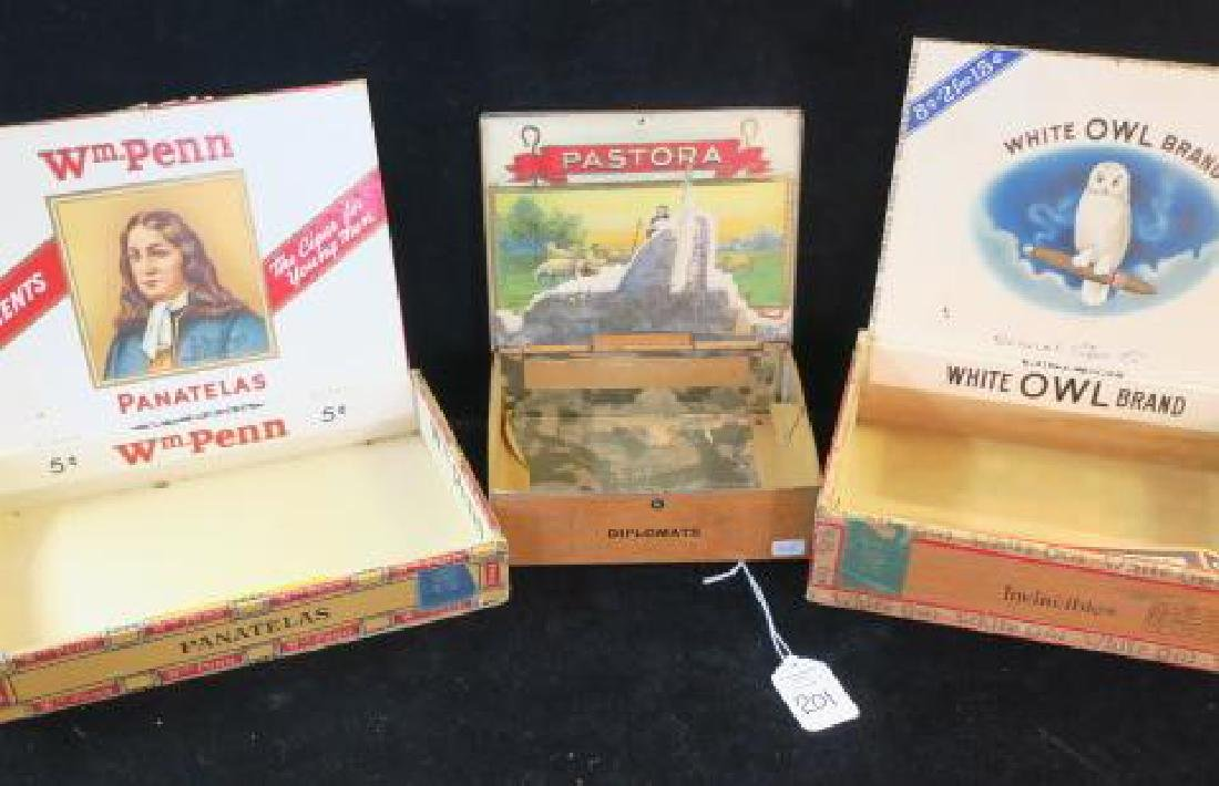 Three Antique Wooden and Metal Cigar Boxes: