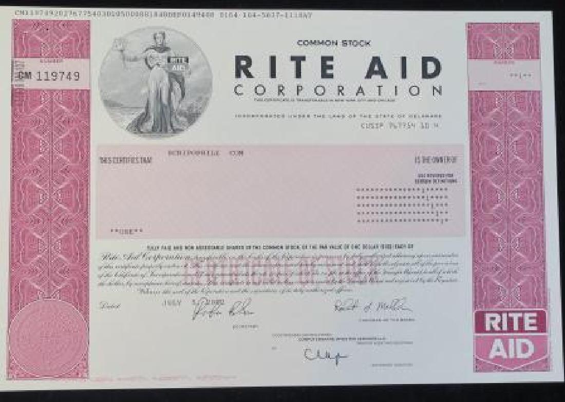 Scripophily; RITE AID CORPORATION, JULY 5 2002: Certifi