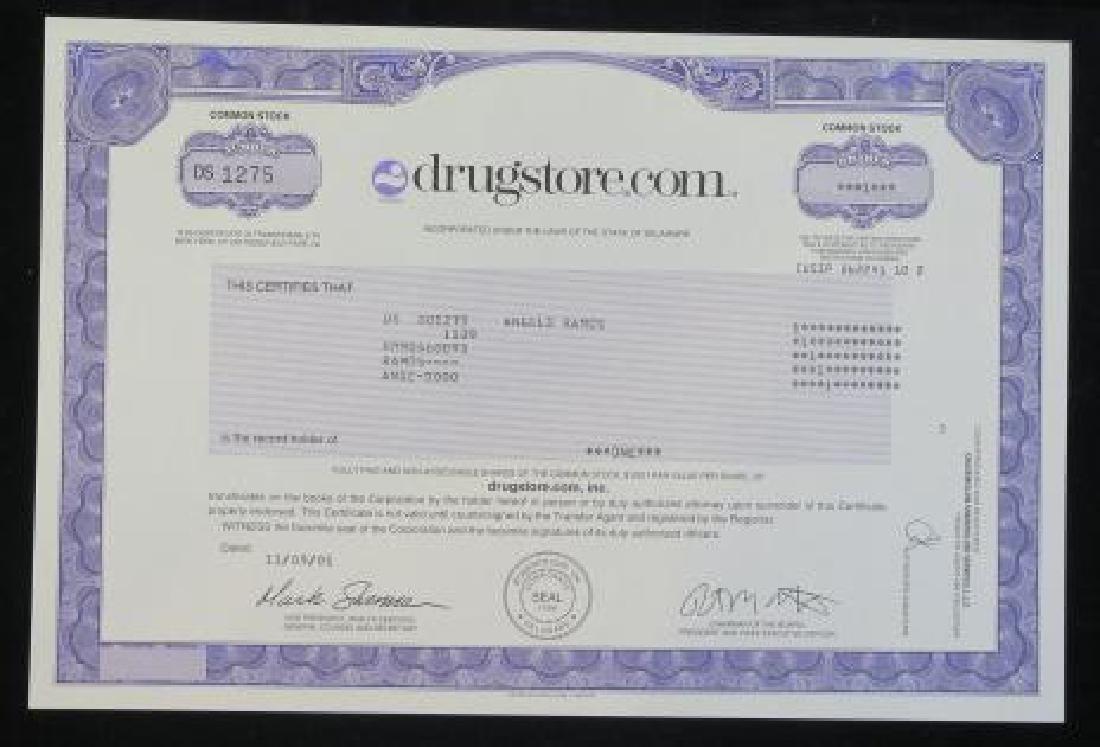 Scripophily; drugstore.com, 11/09/01 Certificate