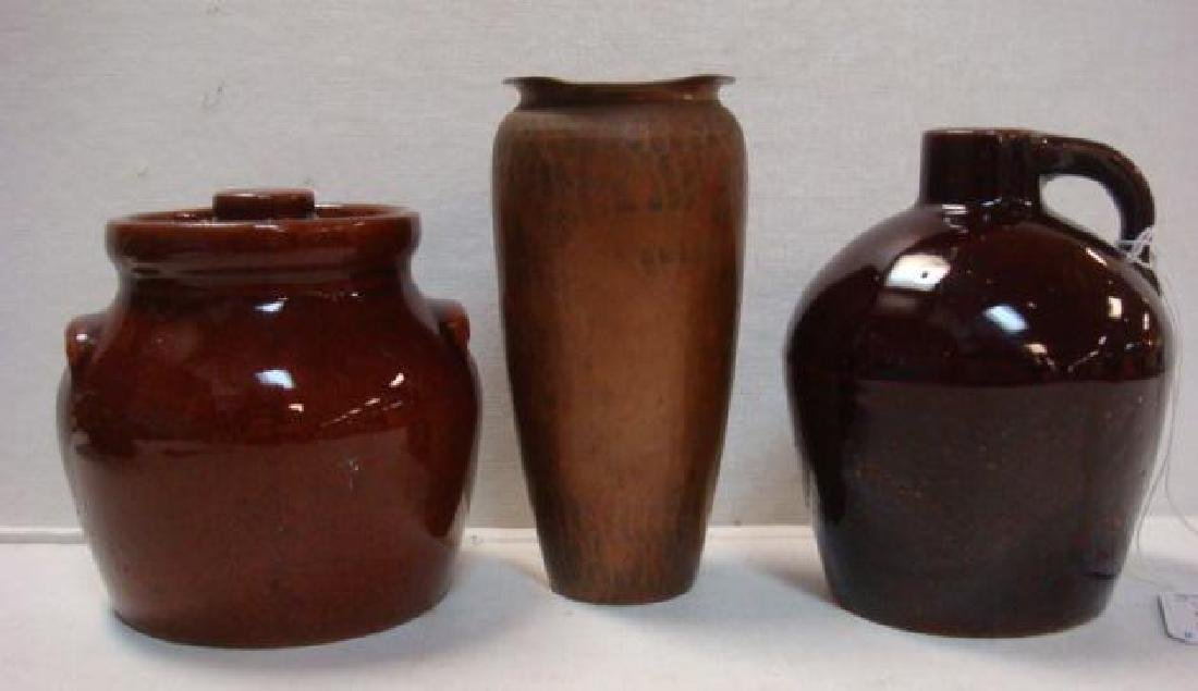 ROYCROFT Hammered Copper Vase & Two Pieces of Pottery: