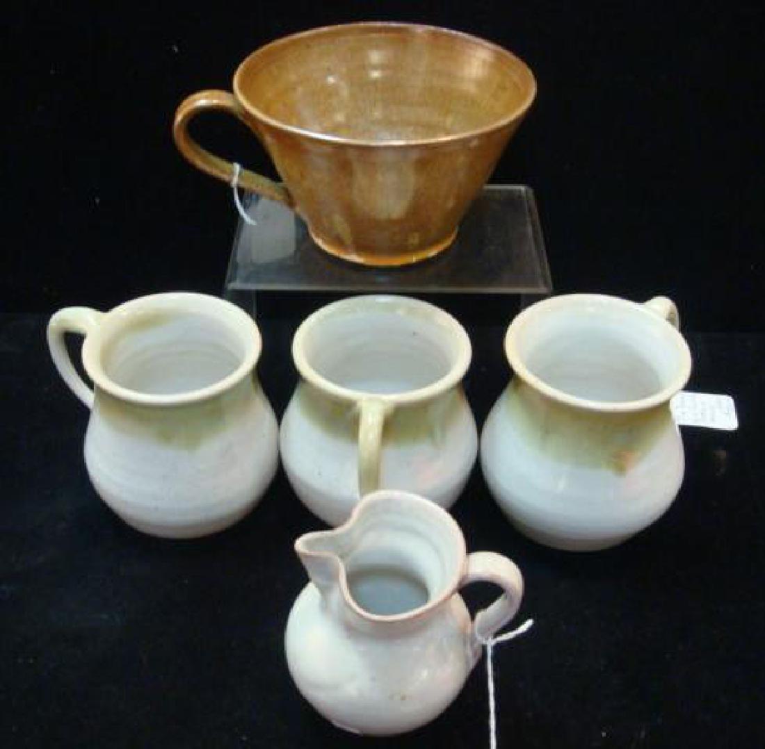 North Carolina Pottery Mugs and Creamer: