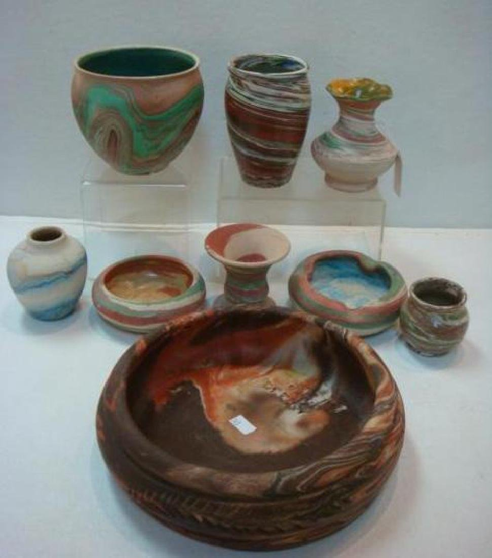 Nine Assorted Swirled Pattern Clay Pottery: