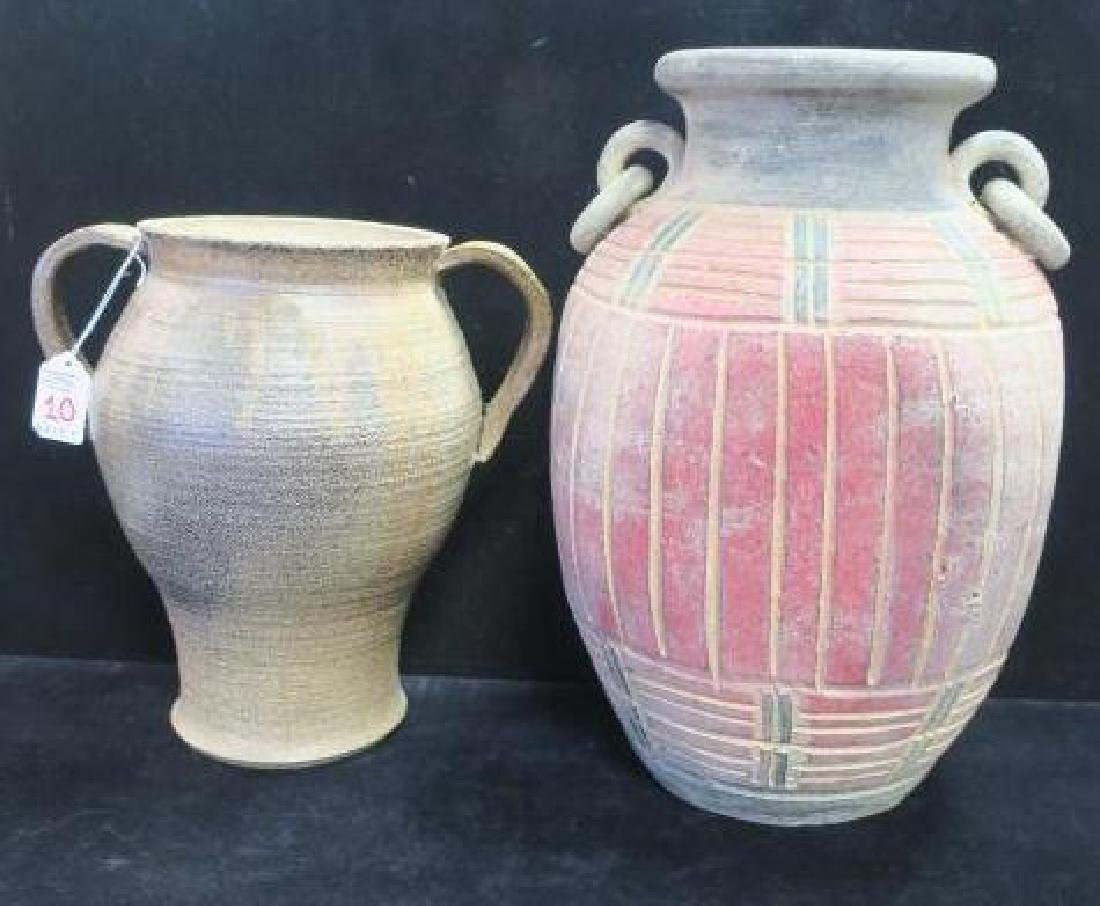 Two Handled Pottery Vases: