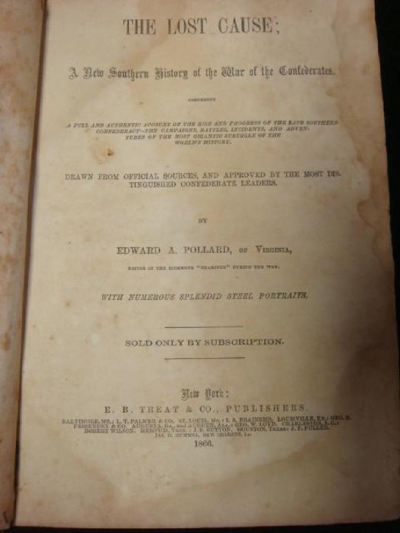 1st Edition, THE LOST CAUSE, 1866 EDWARD A POLLARD: