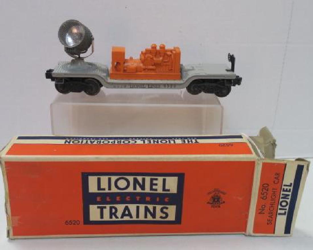 Two LIONEL TRAINS o Gauge SEARCHLIGHT CAR 6520: