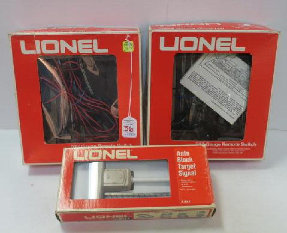 Two LIONEL TRAINS O-27 GAUGE REMOTE CONTROL SWITCHES: