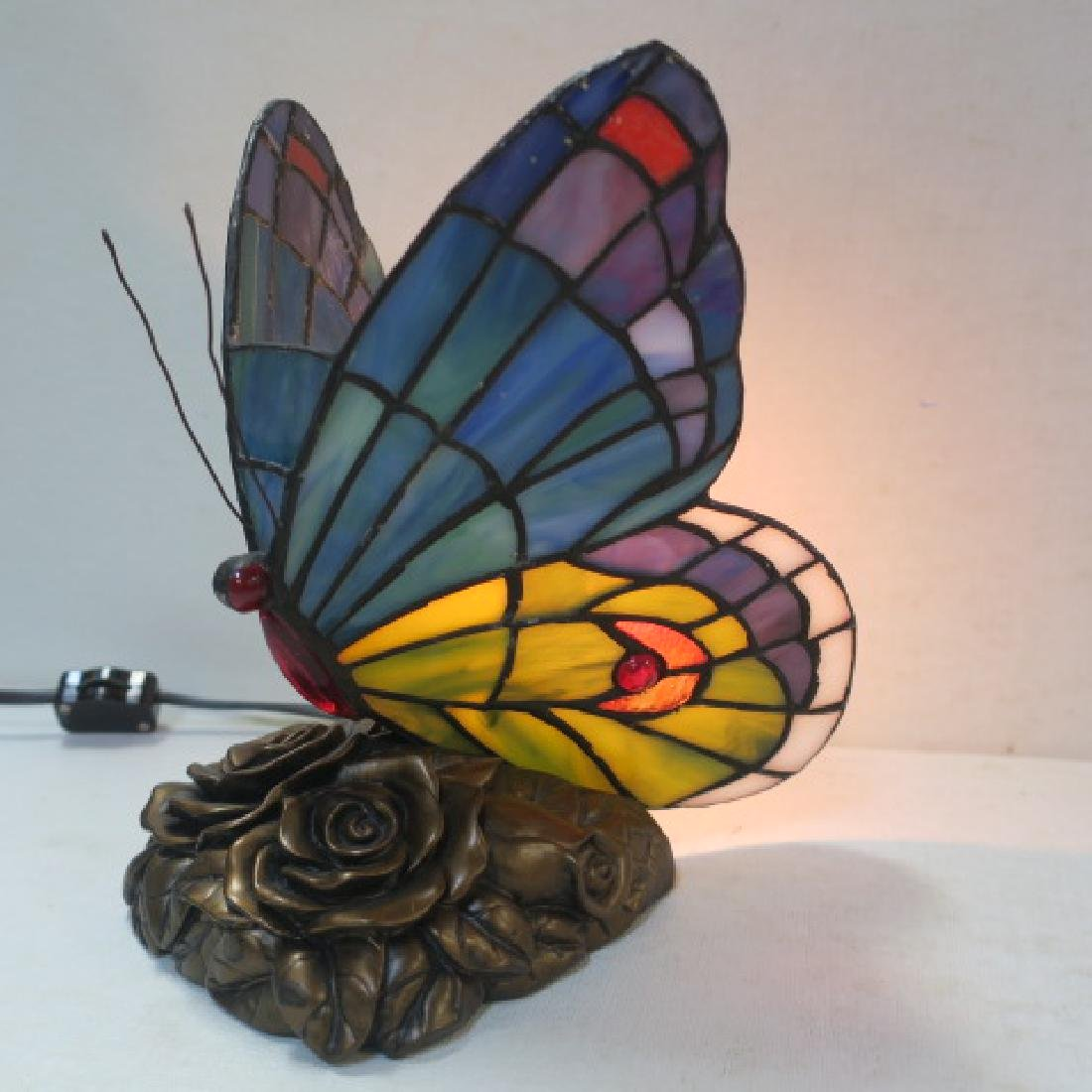Stained Glass Butterfly Accent Lamp: