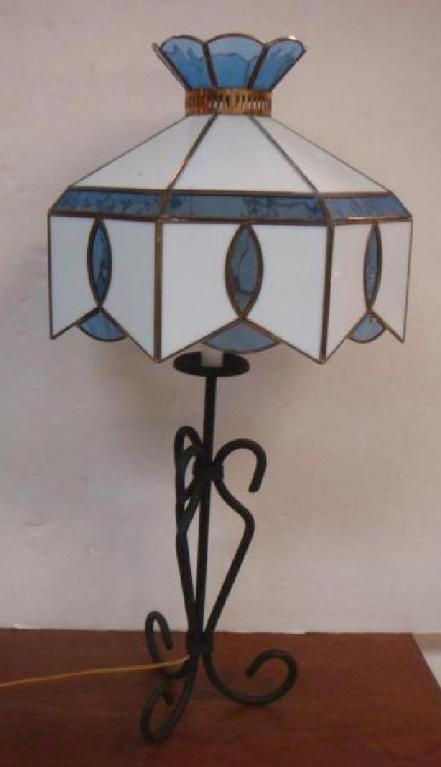 Open Scroll Iron Base Lamp with Octagonal Glass Shade: