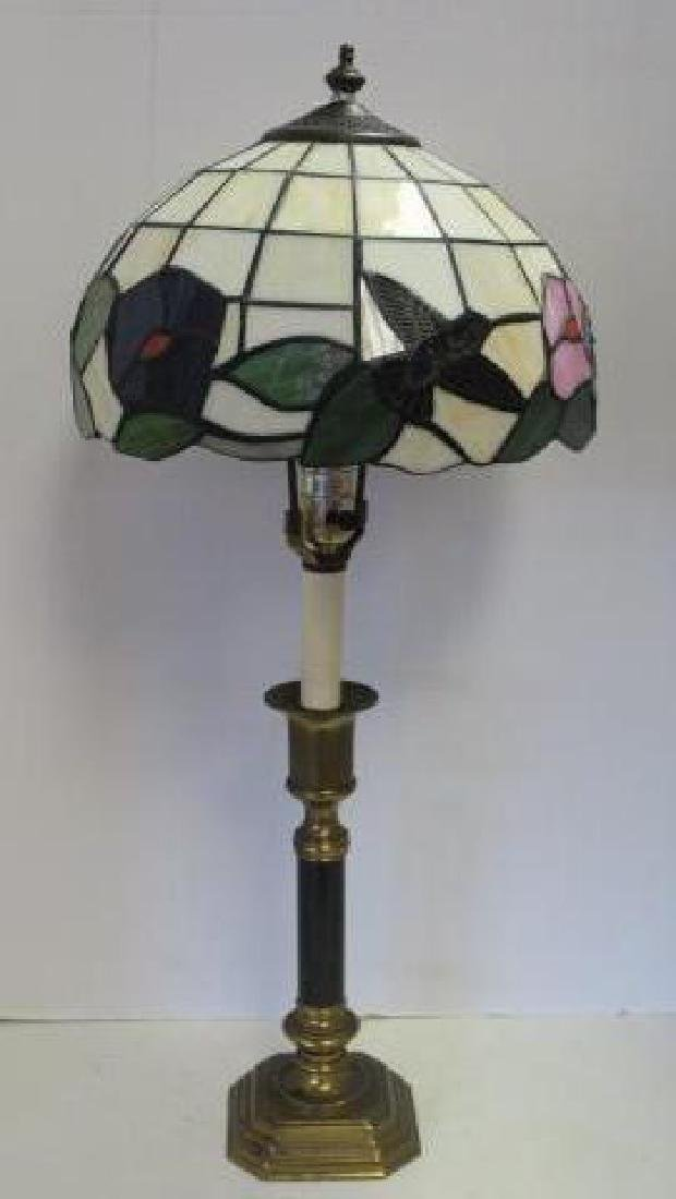 Hummingbird Motif Stained Glass Lamp Candlestick Base