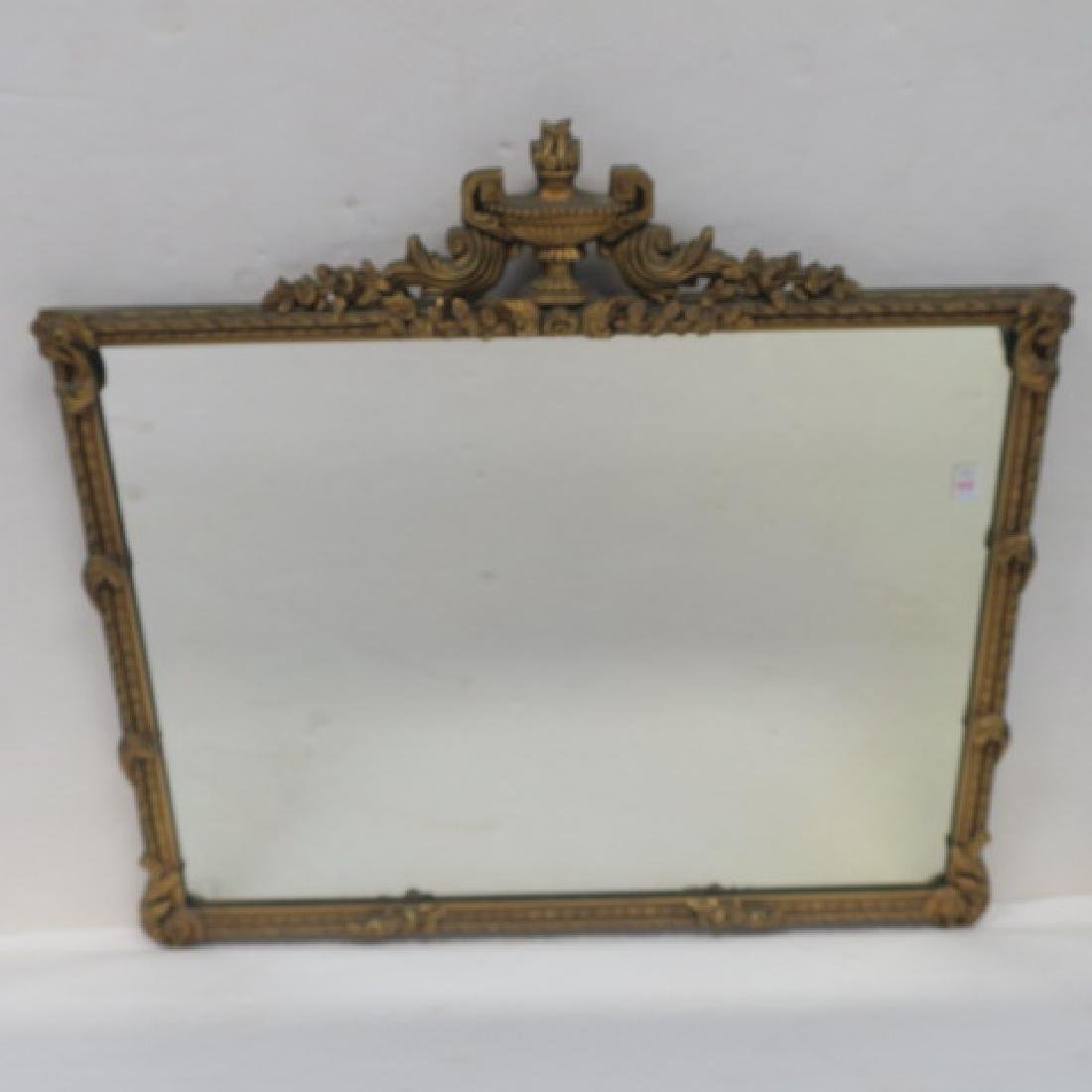 Carved Giltwood Rectangular Mirror with Urn & Flame: