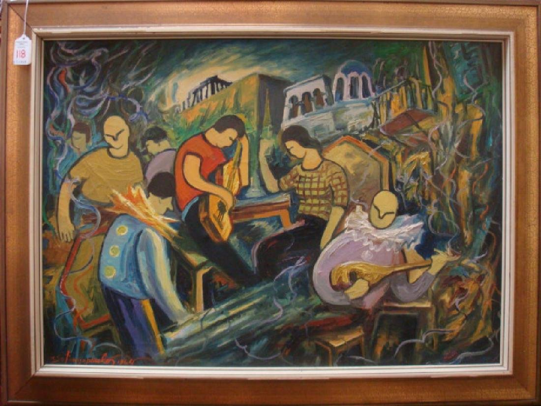 Oil on Canvas of Musicians Signed SPANOPOULOS: