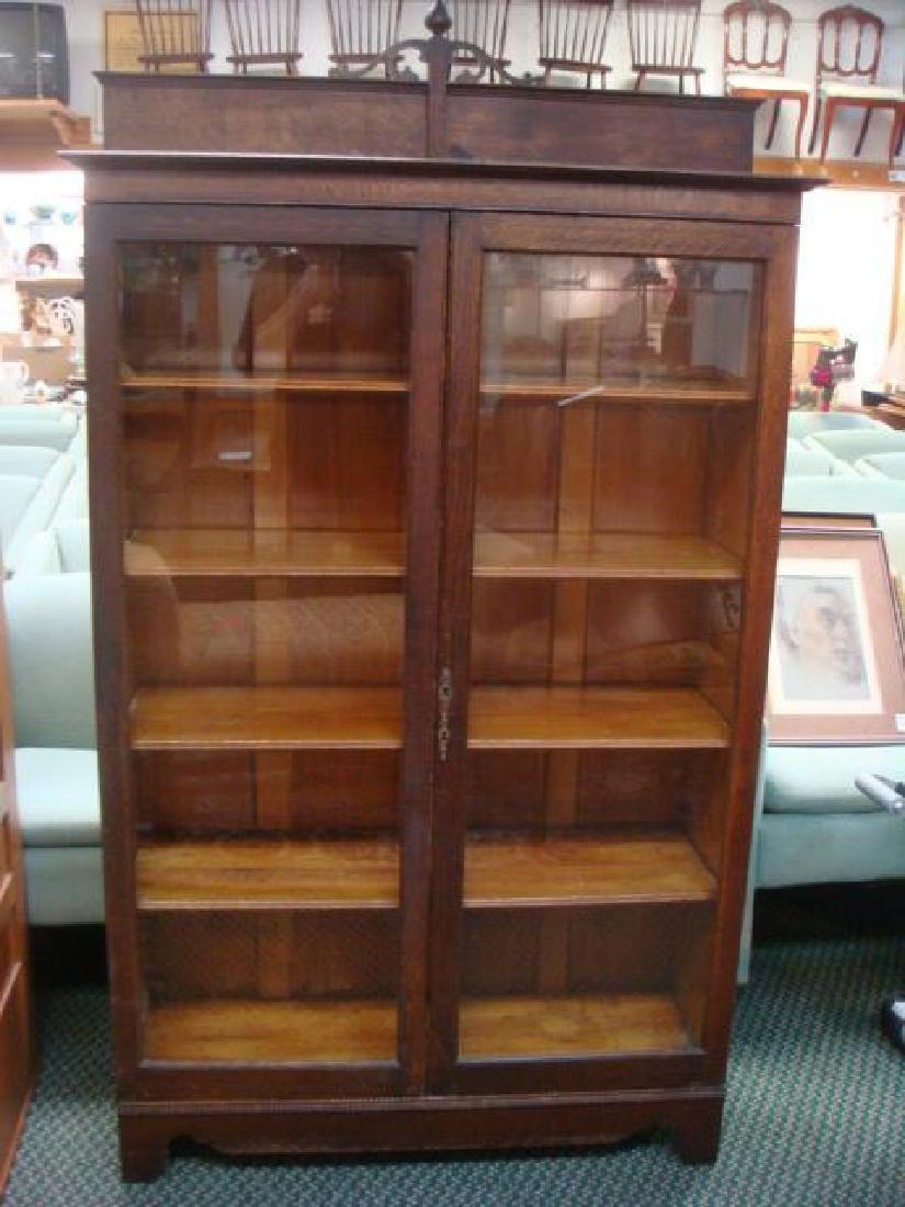 Antique Oak Two Door Glazed Bookcase with Backsplash: