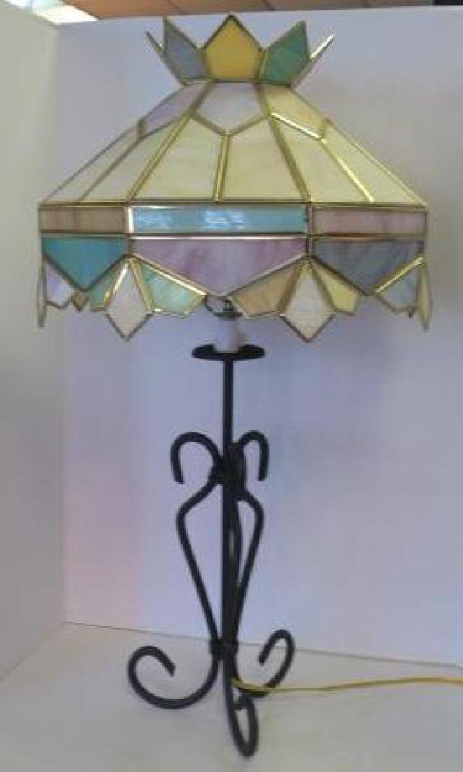 Stain Glass Table Lamp; Yellow, Green & Pink Crown Top: