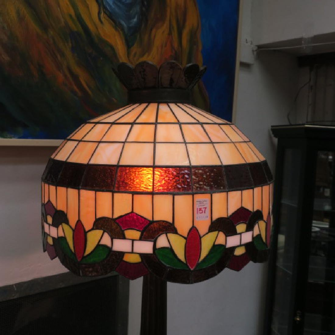 Elaborate Leaded Glass Floor Lamp: