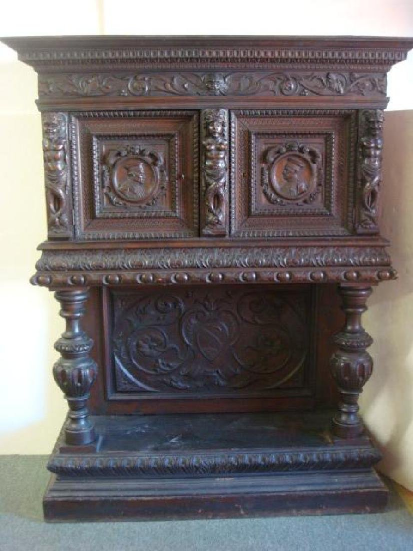 17th C. Carved Dark Oak Court Cupboard: