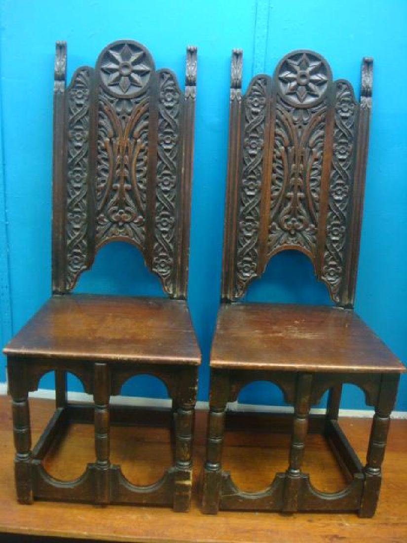 Pair of Dark Oak Cloister Style Side Chairs: