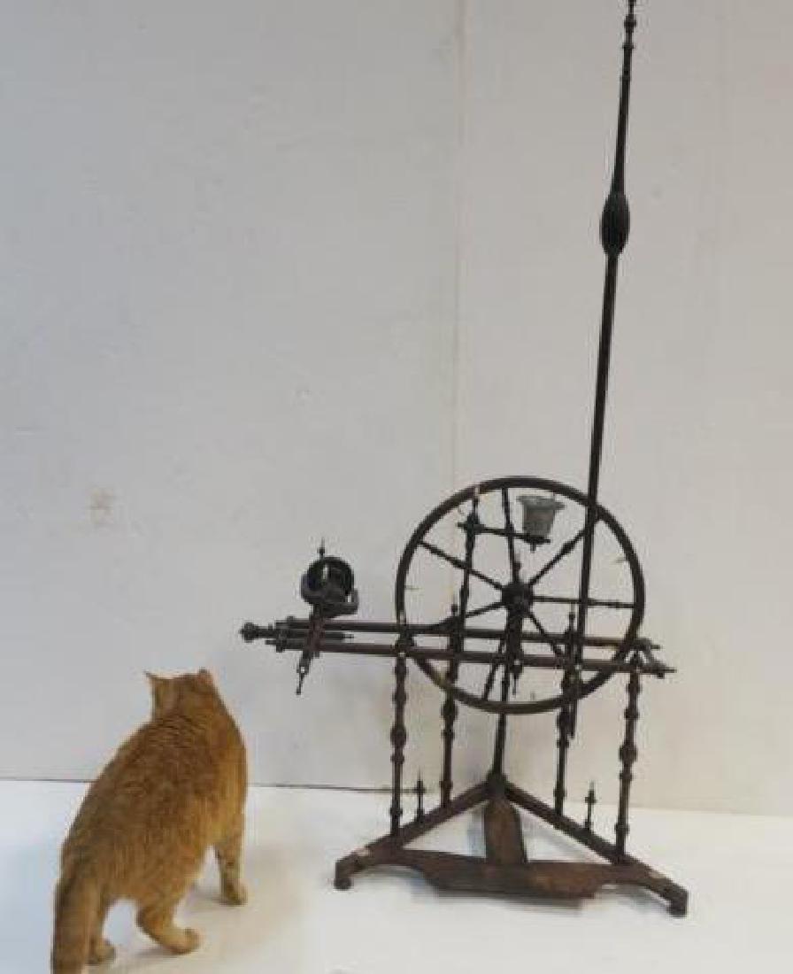 19th C. Treadle Flax Spinning Wheel: