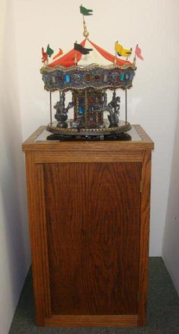 Hand-Cast MICHAEL RICKER Pewter Carousel on Stand: