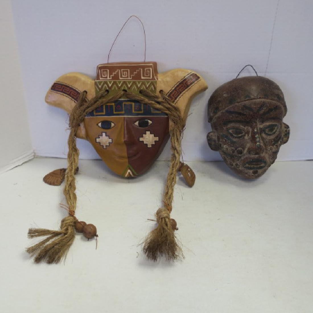 Handmade Ceramic South American & Ghana African Masks: