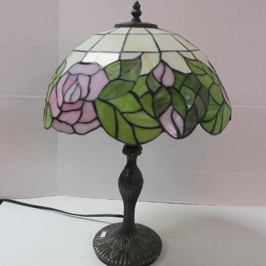 Table Lamp with Leaded Glass Dome Shaped Shade: