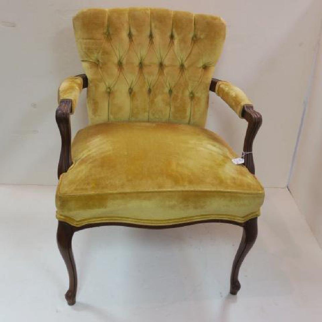 SUGGS & HARDIN MAHOGANY Frame Upholstered Arm Chair: