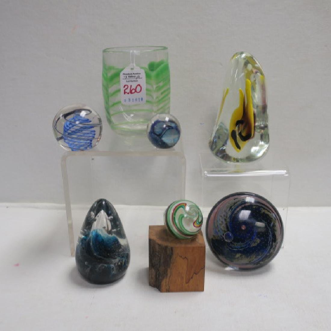 Seven Signed Art Glass Paper Weights and Tumbler: