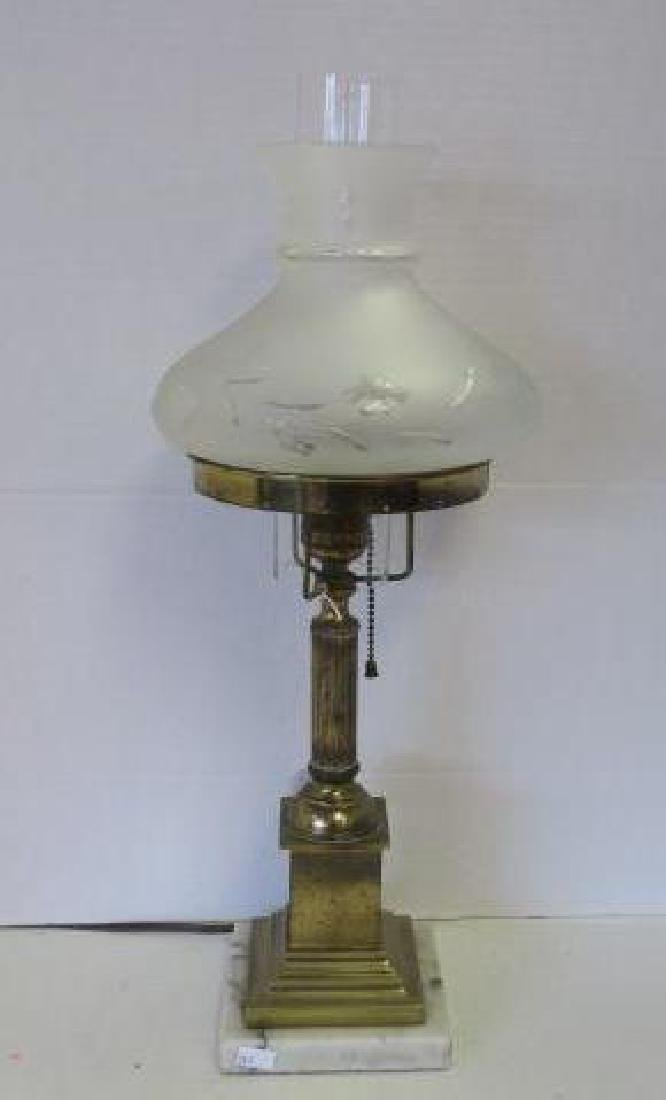 Brass Column Table Lamp with Etched Glass Shade: