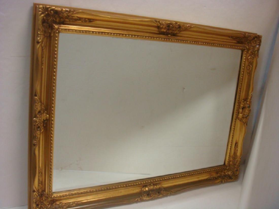 Rectangular Beveled Wall Mirror with Gilt Frame: