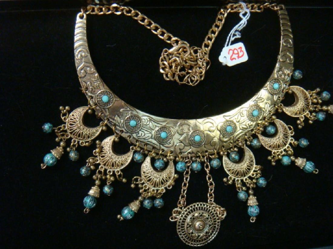 Crescent Moon Tribal Bib Necklace: