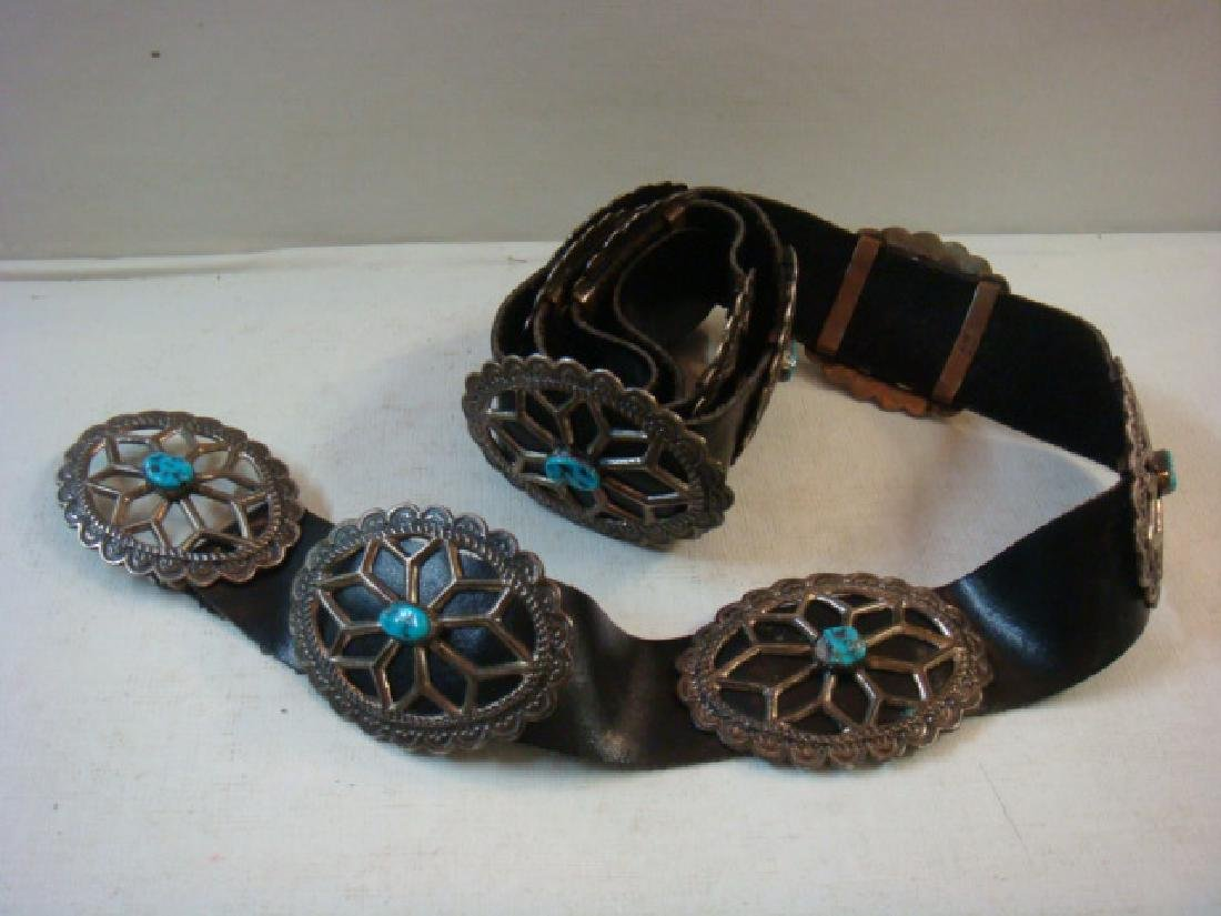 Signed AJW Navajo Silver Sandcast Concho Leather Belt