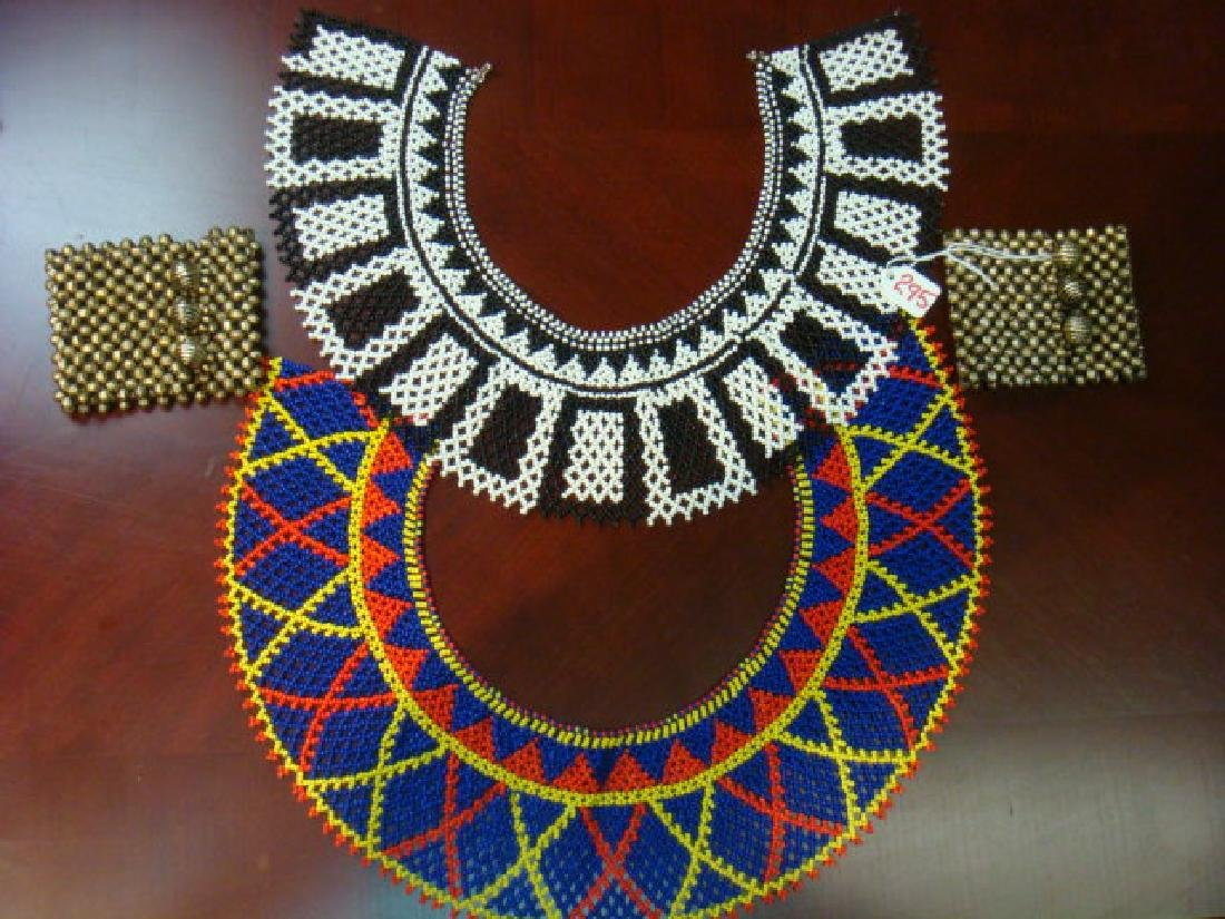 Pair of Bead Cuffs and 2 Beaded Collars:
