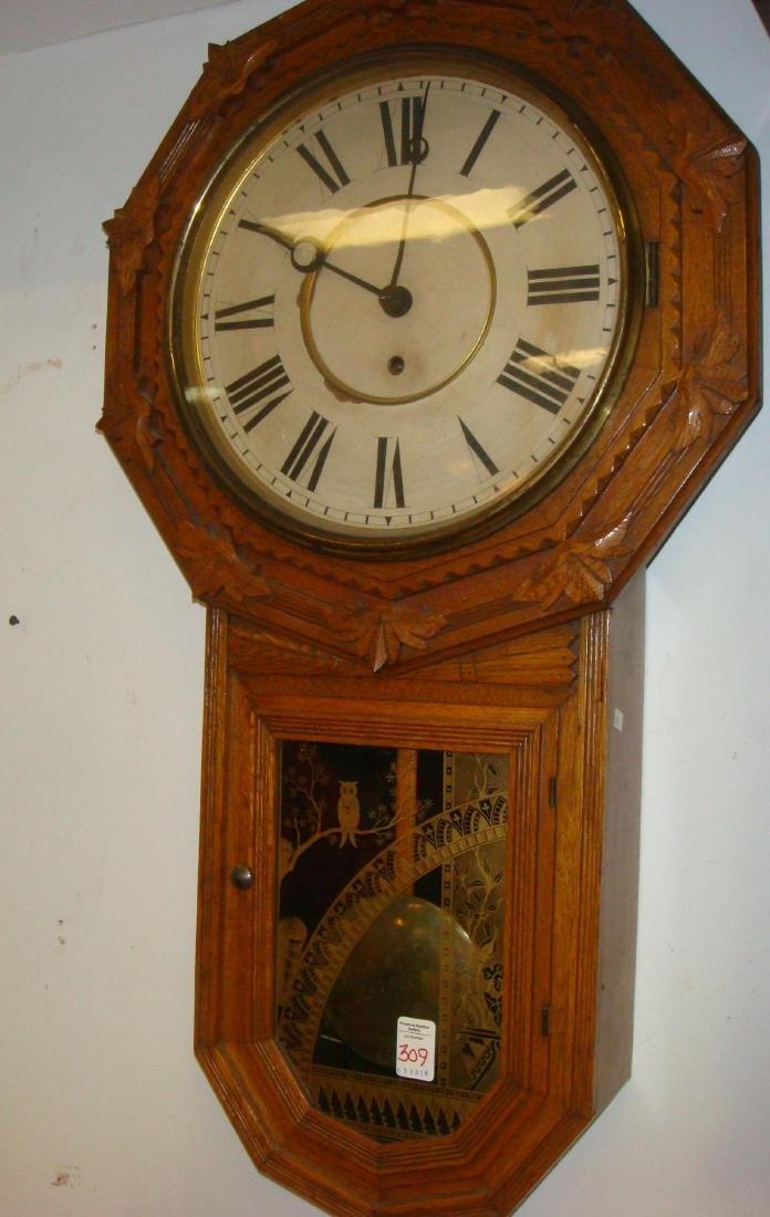 """Wm L. GILBERT CLOCK CO """"Star Drop"""" Oak Wall Clock:"""