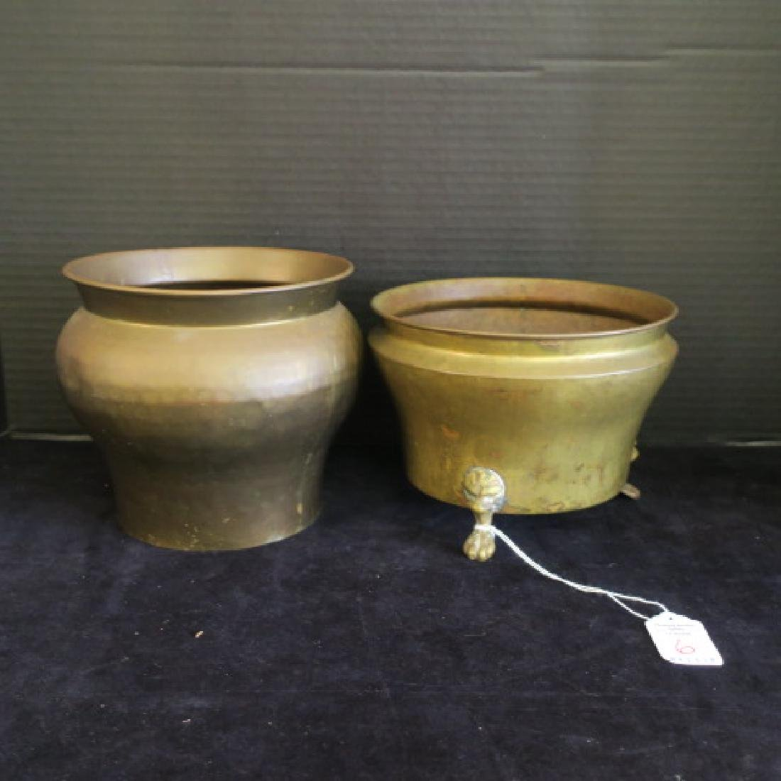 Two Brass and Copper Russian Pots: