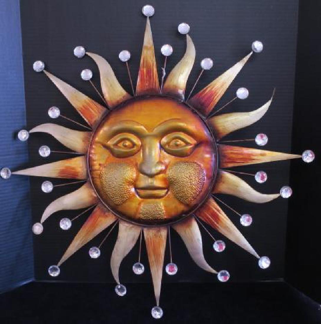 Copper Patina Metal Sun Burst Wall Art: