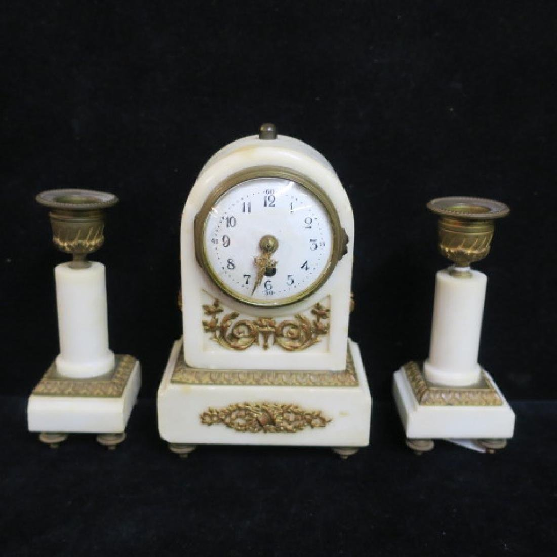 Small Bronze and Marble Clock Garniture Set: