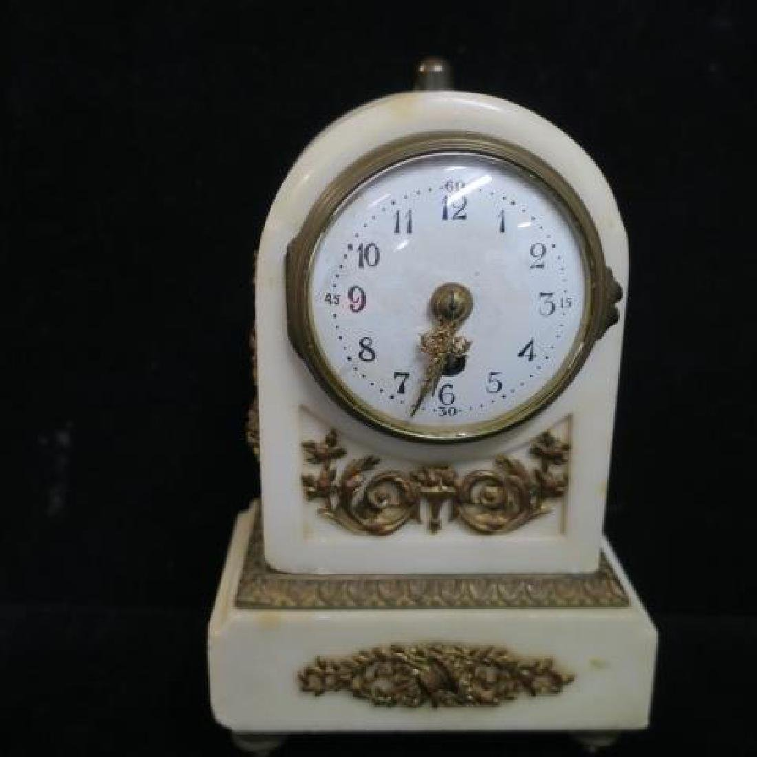 Small Bronze and Marble Clock Garniture Set: - 3