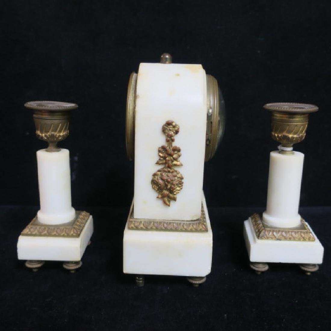 Small Bronze and Marble Clock Garniture Set: - 4
