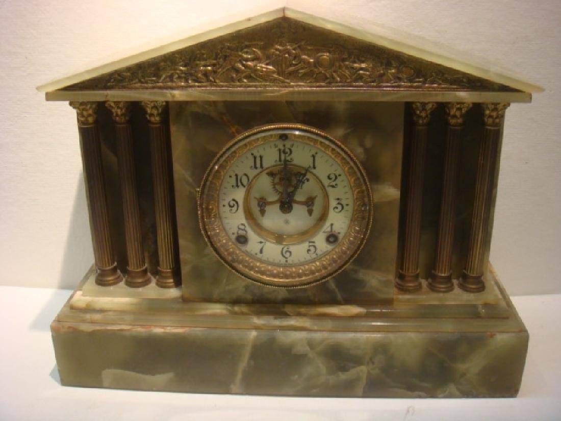 ANSONIA Green Onyx and Bronze Mantle Clock: