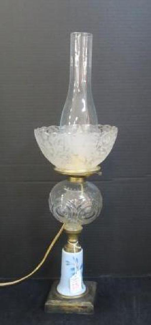 Converted Oil Lamp with Hand painted Base, Glass Font: