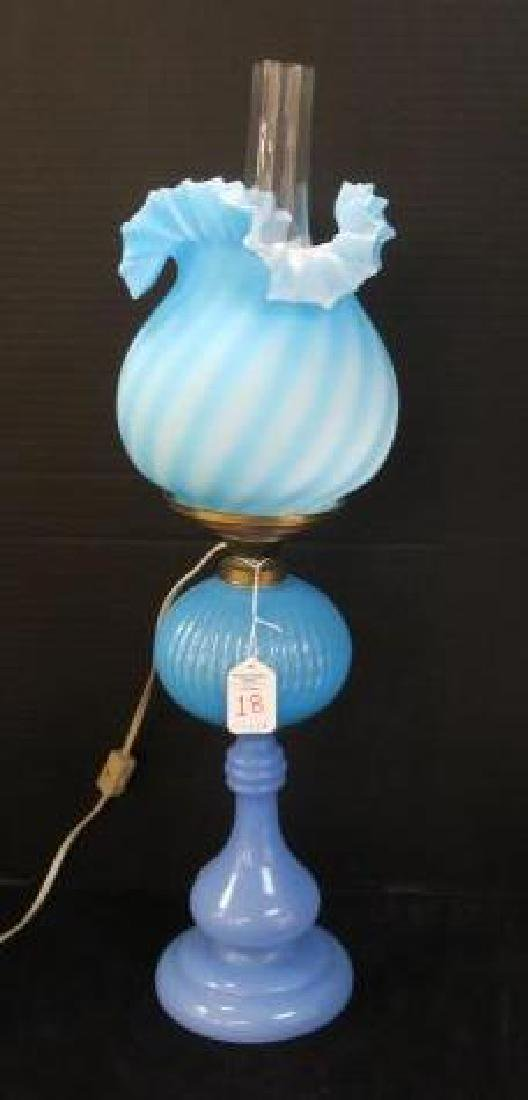 Blue Glass Converted Oil Lamp with Swirl Shade: