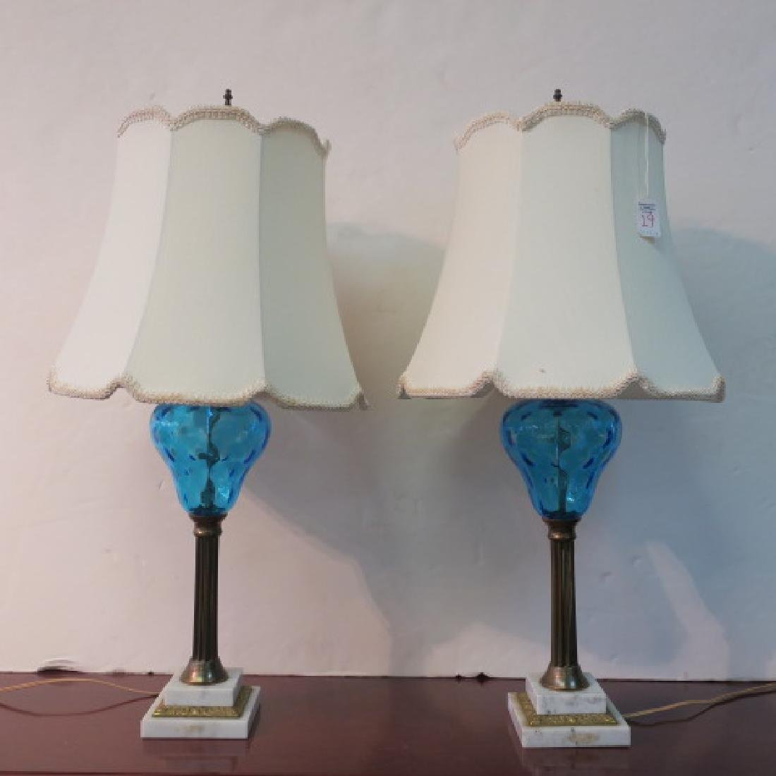 Pair of Blue Glass, Brass and Marble Table Lamps: